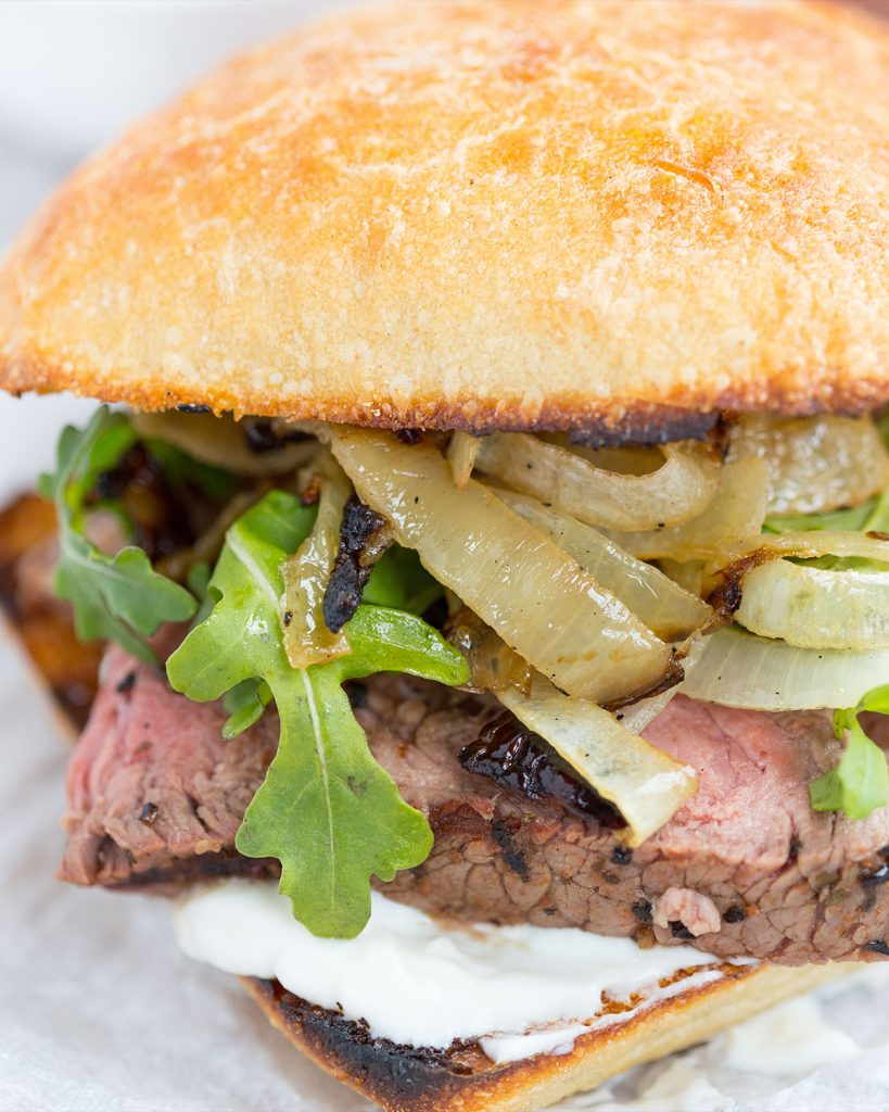 Grilled Steak & Onion Sandwiches with Creamy Horseradish Sauce
