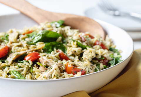 Rotisserie Chicken Remix: Pesto Chicken & Orzo Salad