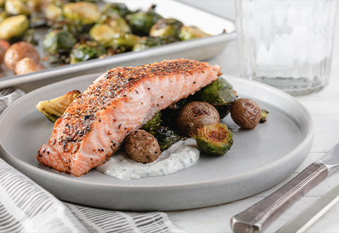 Sheet-Pan Salmon & Brussels Sprouts