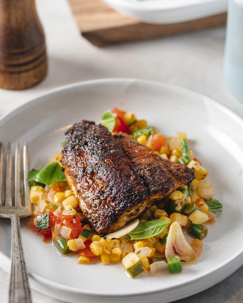 John Wipfli's Blackened Catfish & Corn Succotash
