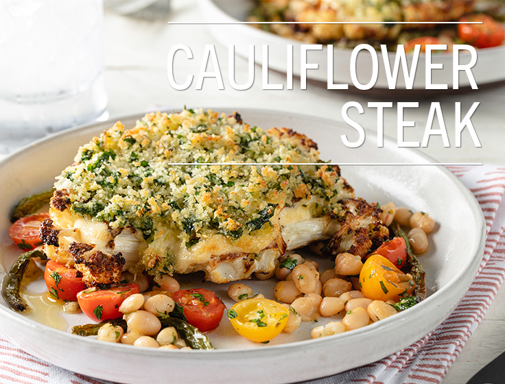 Cauliflower Steak With Beans & Tomatoes