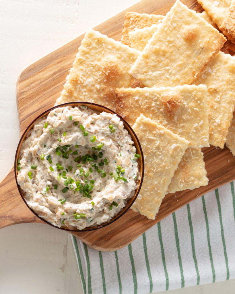 Crackers with Caramelized Shallot Dip