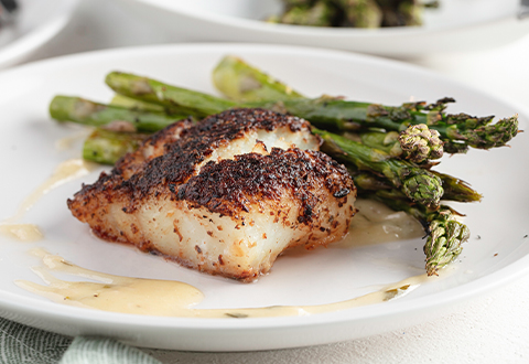 Porcini-Crusted Cod & Asparagus with Beurre Blanc